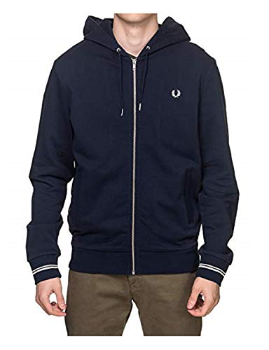 Fred Perry Herren Hooded Zip Through Sweatshirt, Blau (Navy 248), Medium (Herstellergröße: M)