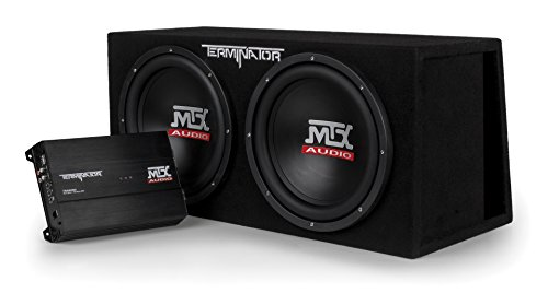 "MTX Audio TNP212DV Dual 12"" Subwoofer Vented Enclosure with Amplifier, Black"
