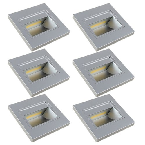 MENGS 6 Stück 1W COB LED Wand & Treppenbeleuchtung Nachtlicht Lampe & Leuchtmittel LEDs Treppenlicht (Warmweiß 3000K, 140º Abstrahlwinkel, 110V - 260V AC, 94 x 31mm) Energiespar Licht - Silber