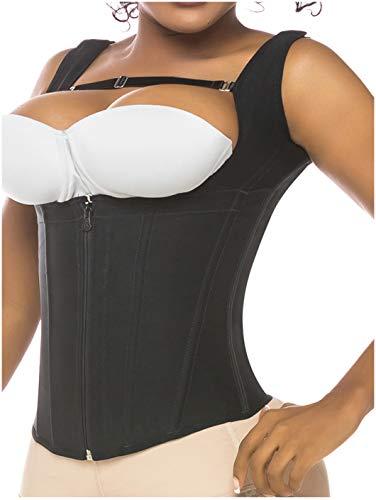 Salome 0314 Zip Waist Trainer Vest Faja Colombiana Chaleco Cinturilla Reductora de Mujer Black S