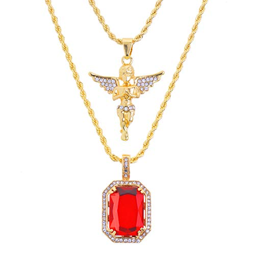Hip Hop Iced 14K Gold Plated Baby Angel & Red Ruby 22'&27' Combo Pendant Chain MHC 213 G