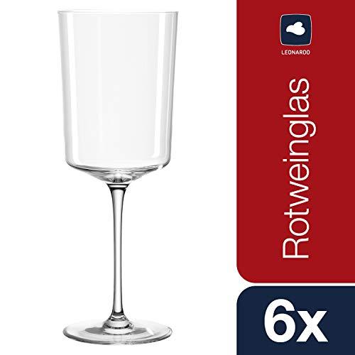 Leonardo Nono Rotweingläser, Rotweinkelche mit gezogenem Stiel, spülmaschinenfestes Weinglas, 6-er Set, 600 ml, 066294