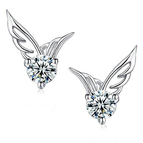 Wiftly Damen Ohrringe Ohrstecke Schmuck Zirkonia Angel Wings Flügel Ohrringe Modeschmuck