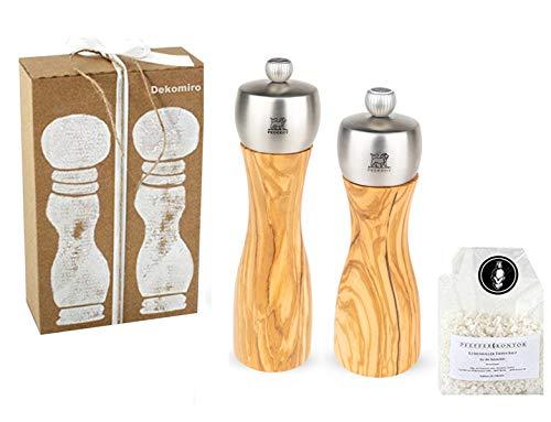 Peugeot Set Fidji zoutmolen 15 cm en pepermolen 20 cm van olijfhout Dekomiro cadeauset met 100 gram Zout.