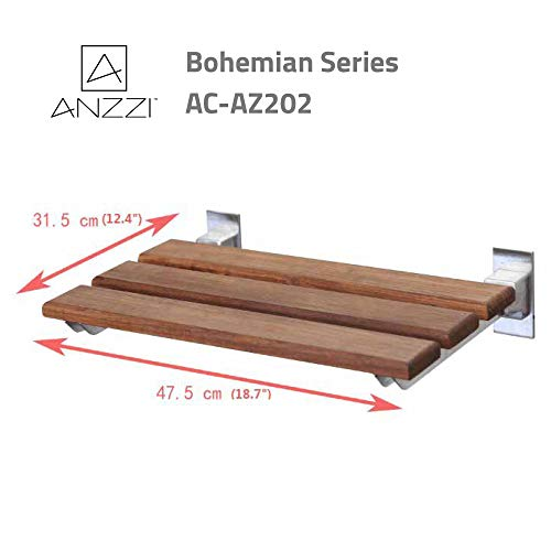 ANZZI Bohemian 18.7 in x 12.4 in Wall Mounted Folding Teak Shower Seat | 350 lbs Weight Capacity Wood and Aluminum Spa Bench Fold Down Seat for Bath | Modern Wooden Foldable Shower Chair | AC-AZ202