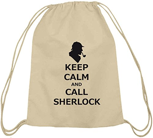 Shirtstreet24, Keep Calm And Call Sherlock, Baumwoll natur Turnbeutel Rucksack Sport Beutel, Größe: onesize,natur