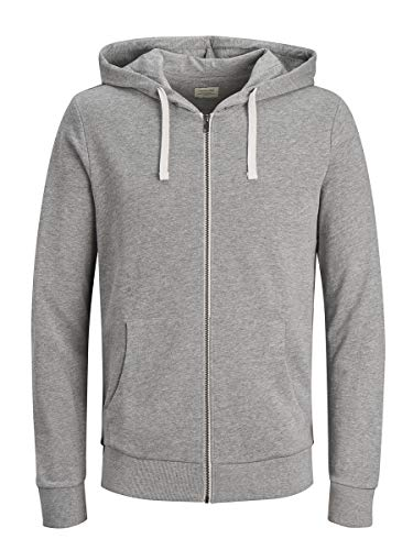 Jack & Jones Jjeholmen Sweat Zip Hood Noos Sudadera, Gris (Light Grey Melange), Large para Hombre