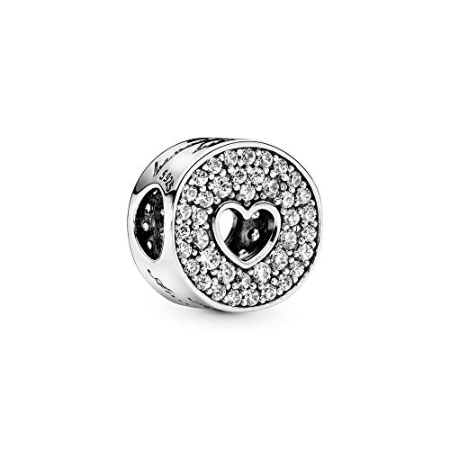 Pandora Jewelry Pave and Heart Anniversary Cubic Zirconia Charm in Sterling Silver