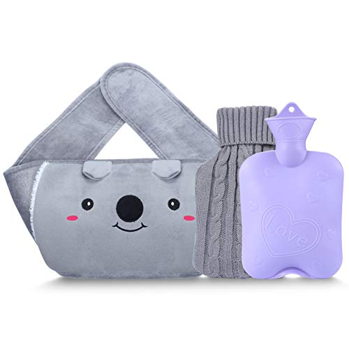Hot Water Bottle with 2 Pack Waist Cover, Warm Water Bag Rubber Winter Hot...