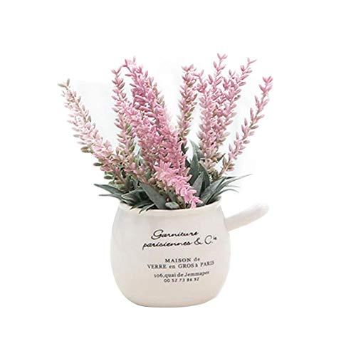 Simulation Fleurs en Pot Plante Lavande bonsaï Bureau ménage Bureau Table décoration décor à la Maison Belle lavandes Mini Plantes artificielles en intérieur extérieur Floral créatif avec Pot