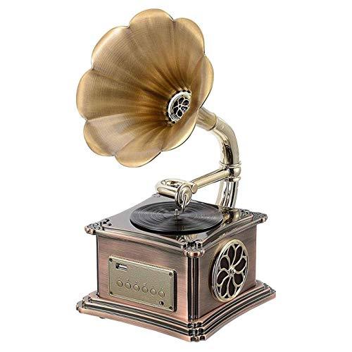 Hi-Fi audio para hogar Decoración del hogar Mini Vintage Retro Clásico Gramófono Forma fonógrafo Altavoz estéreo Sistema sonido Caja música Audio 3,5 mm Diente azul 4.2 Entrada auxiliar/Unidad flash