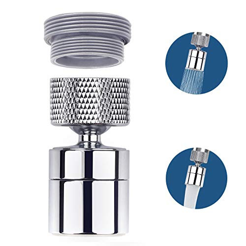 KWODE Faucet Aerator Sprayer Kitchen Sink 360-Degree Swivel Dual-Modes Faucet Head Attachment Female Thread with Male Thread Adapter