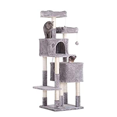 Hey-bro 60 inches Large Multi-Level Cat Tree Condo Furniture with Sisal-Covered Scratching Posts, 2 Plush Condos, 2 Plush Perches, for Kittens, Cats and Pets, Light Gray MPJ012W