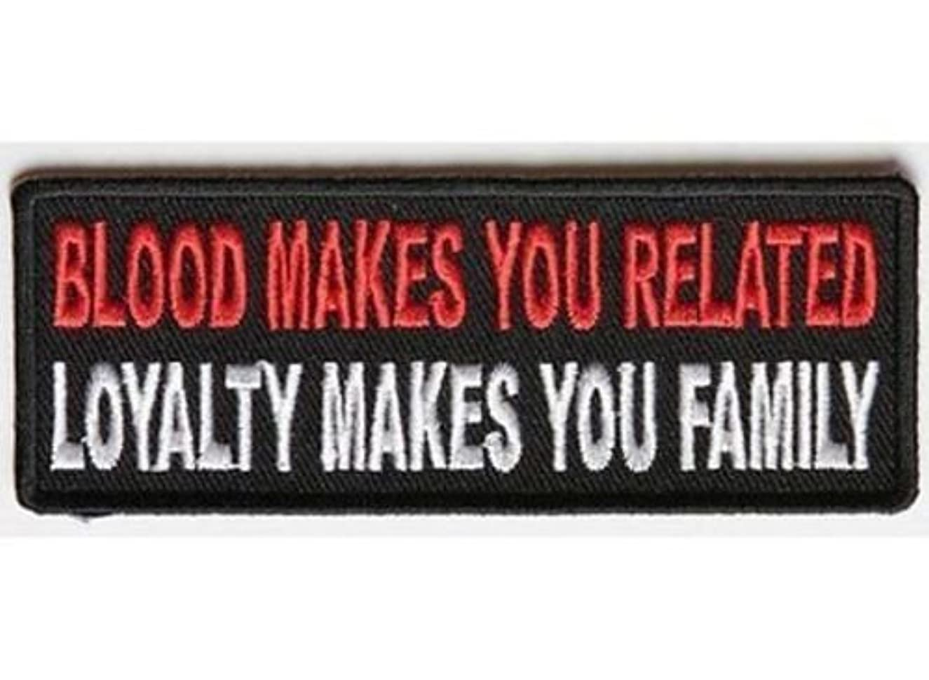 BLOOD MAKES YOU RELATED Embroidered Funny Biker Saying Patch Vest Jacket Emblem Motorcycle