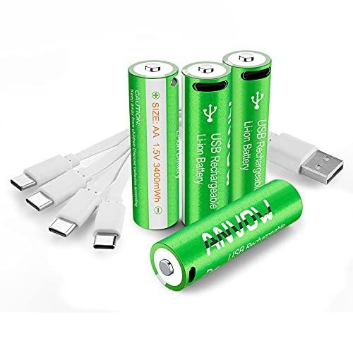 battery for usb charges ANVOW - Rechargeable AA Lithium Batteries USB C - Double AA Battery 1.5V 3400mWh Type C Charge with 4-in-1 Charging Cable - 4 Count