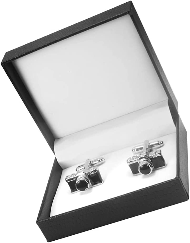 generic 1 Pair Camera Cufflinks Men Camera Photographer Cufflinks Personality Cuff Studs Cuff Buttons with Gift Box Father Dad Gift for Wedding Business Special Occasions