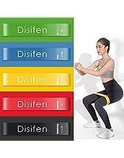 Disifen エクササイズバンド ヨガストラップ トレーニング用ゴムバンド トレーニングチューブ ループバンド 6本 5本 4本 1本 各強度別セット 1年保証期間 収納袋付き