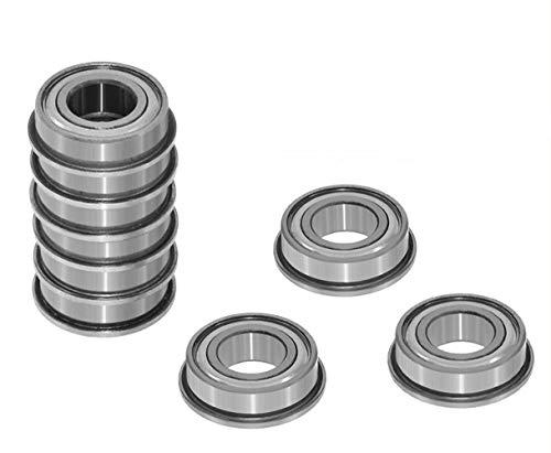 YINGJUN-DRESS Precision Flanged Ball Bearings 10 Pieces Flange Bushing Ball Bearings F604ZZ F623ZZ F624ZZ F625ZZ F626ZZ F608ZZ F688ZZ for 3D Printers Parts Deep Groove Pulley Wheel Aluminium Part