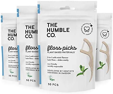 The Humble Co. Natural Dental Floss Picks (200 Count) - Vegan, Eco Friendly, Sustainable Dental Flossers and Zero Waste Plaque Remover for Oral Care with a Fresh Feel (Charcoal, Double Thread)