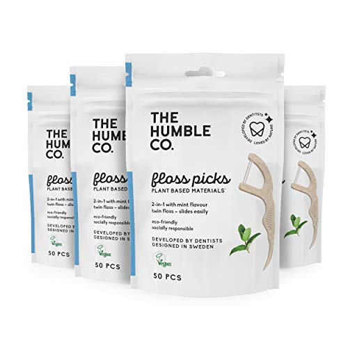 The Humble Co. Natural Dental Floss Picks (200 Count) - Vegan, Eco Friendly, Sustainable Dental Flossers and Zero Waste Plaque Remover for Oral Care with a Fresh Feel (Mint, Double Thread)