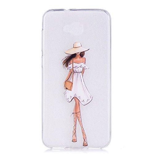 pinlu etui hoes voor flexibele TPU silicone ultra slim beschermhoes doorzichtig lichte achterkant anti-kras design, Asus Zenfone 4 Selfie ZD553KL, Witte jurk meisje