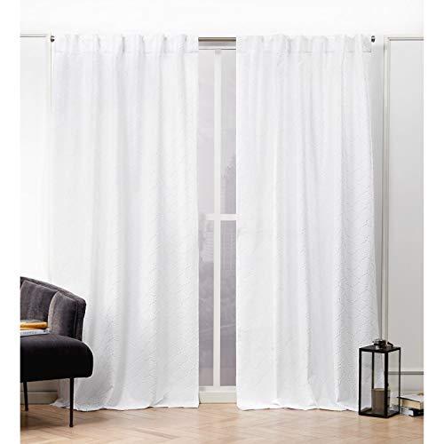 Nicole Miller Trellis Matelassé Curtain Panel, 54x96, White, 2 Panels
