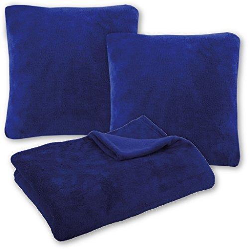 Bestlivings Kuscheldecke Tagesdecke Wohndecke mit Kissen in vielen Farben 210x280cm + 2X Kissenbezug Kissen 60x60cm (Farbe: blau - Royalblau ohne Kissenfüllung)