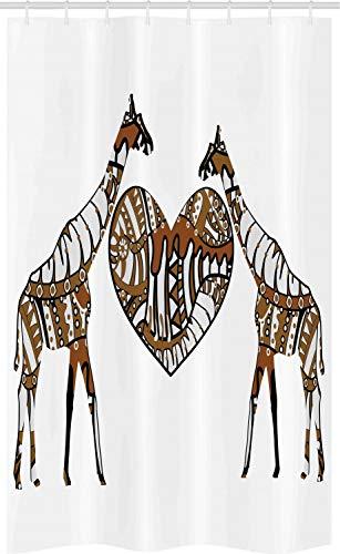 ABAKUHAUS Afrikaanse Douchegordijn, Soul Mate Hart van de liefde, voor Douchecabine Stoffen Badkamer Decoratie Set met Ophangringen, 120 x 180 cm, bruin wit