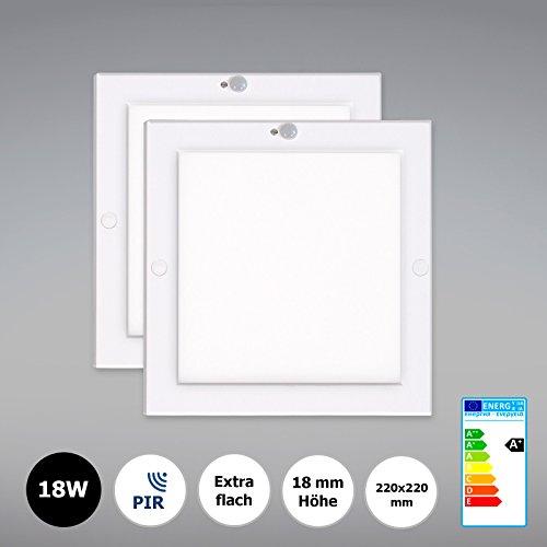 2x Xtend PLD LED-plafondlamp met bewegingsmelder LED-paneel 18W ultraslim 220x220mm met geïntegreerde voeding! Warmwit 3000 K, extra vlak 18 mm, incl. montagemateriaal