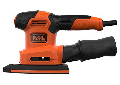 Black+Decker BEW200K - Multilijadora 4 en 1 (lijadora orbital, triangular, lijadora excéntrica y de dedos, 200 W, con velcro y depósito de polvo, incluye accesorios y maletín)