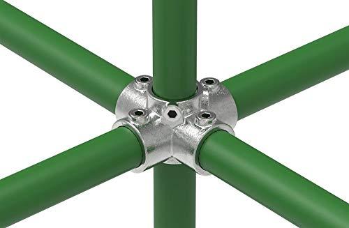 Fenau   Kreuz-Verbinder, 90°, Ø 33,7 mm, Kreuz-Stück, Rohrverbinder, Temperguss galvanisiert, feuerverzinkt, inkl. Schrauben