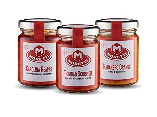 Moretti® Crema de Ají | 100% Calabrese 100% Natural | Sin OMG | Chiles cultivados y procesados en Calabria con aceite de oliva | Cremoso para untar | Hecho en Calabria (Tris muy picante)