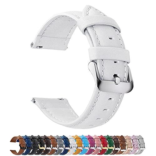 Fullmosa 12 Farben Uhrenarmband, Axus Serie Lederarmband Ersatz-Watch Armband mit Edelstahl Metall Schließe für Herren Damen 20mm Weiß