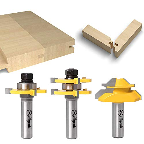 Tongue and Groove Router Bit Tool Set, SellyOak 1/2 Shank Tongue&Grooving Router Bits + 1/2 Shank 45° Lock Miter Router Bit, Wood Milling Cutter Woodworking Tools on Router Table/Base Router etc.