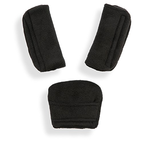 Belts Pads Shoulder Strap & Crotch Cover Universal Fits Most Buggy, Stroller, car seat (Soft Black)