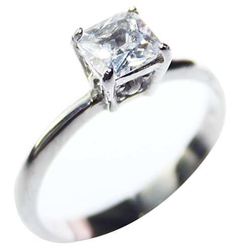 Ah! Jewellery 4ct Highly Polished Stainless Steel Solitaire Ring. Fitted with a Princess Cut 8.5mm High Grade Lab Simulated Diamond. 3.20gr. Never Tarnish Guarantee. Stamped 316L