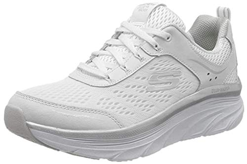 Skechers D'Lux Walker-Infinite Motion, Scarpe da Ginnastica Donna, Bianco (White & Silver Leather/White Mesh/Silver Trim WSL), 36 EU
