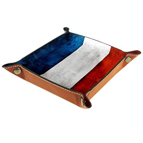 YATELI Caja de Almacenamiento pequeña, Bandeja de Valet para Hombre,la Bandera Francesa,Organizador de Cuero para Llaves de Caja de Monedas