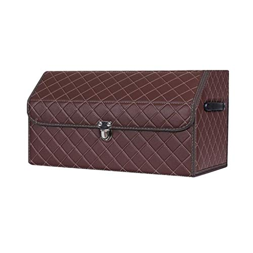 aycpg Car trunk storage bag Lattice Car Sorting Bag Thick Wood Material Foldable Trunk, Used for Car Interior Products car boot storage bags (Color : A, Size : 31x30x53cm)