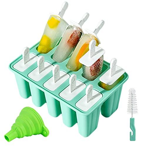Moldes para Helados de Silicona, Reutilizable Molde para Hacer paletas para Hacer Helados Juego de Moldes para polos-10 Moldes de helado, 1 Cepillo de Limpieza, 1Plegable Embudo, libres de BPA