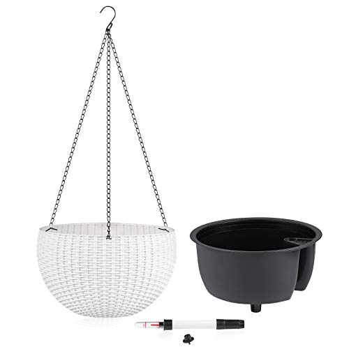 EcomVast Plant Pot with Chain[Self-Watering ], 10.2' Hanging Planters with Inner...