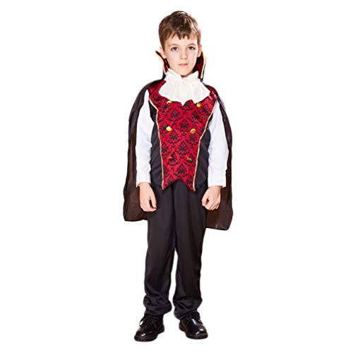 KESYOO Disfraz de Vampiro para Niños Disfraz de Cosplay de Halloween para Niños Ropa de Escenario de Rendimiento Aterrador Accesorios de Fiesta de Maquillaje para Niños