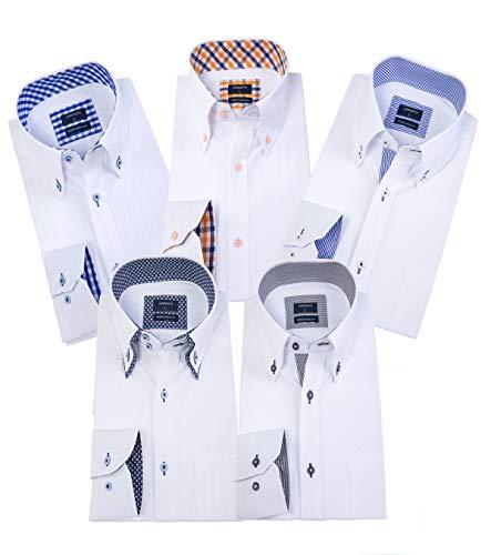 ワイシャツメンズ 長袖ビジネスワイシャツ5枚 セット好きなセットが選べる (M, LM503C)