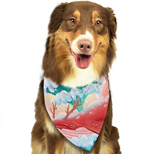 Humpback walvis kunst behang op maat hond kat hoofddoek halsdoek set geschikt voor kleine tot grote hond katten