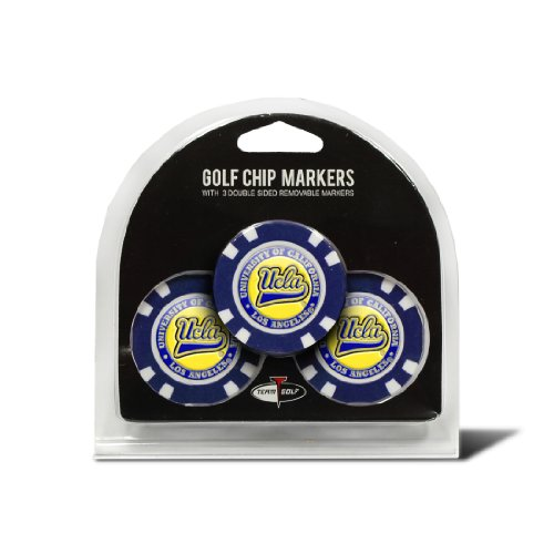 Team Golf NCAA UCLA Bruins Golf Chip Ball Markers (3 Count), Poker Chip Size with Pop Out Smaller Double-Sided Enamel Markers
