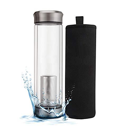 FORYOU24 Teekanne mit Sieb, Teeflasche to go Glas, doppelwandig, isoliert, Trinkflasche mit Filter, Glasflasche mit Infuser, Teezubereiter, Thermosflasche Glas, Teebecher