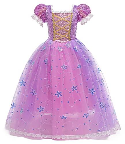 YOSICIL Vestido Princesa NiaSofia Disfraz De Sofia Tul Vestido De Fiesta Con Lentejuela Cumpleaos Cosplay Ceremonia Halloween Carnaval Flores Encaje con Accesorios
