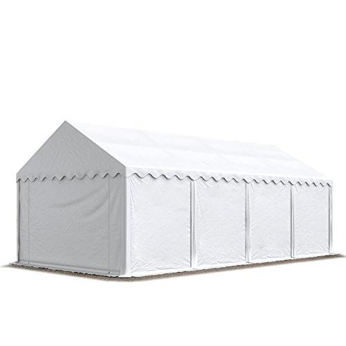 TOOLPORT Tendone Deposito 4 x 8 m PVC ca. 500g/m² Bianco Gazebo Magazzino Tenda Capannone