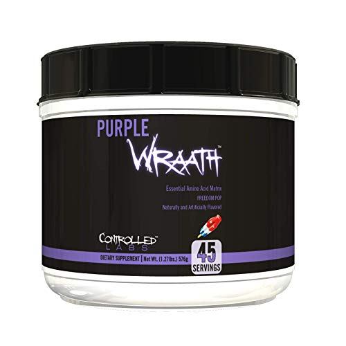 Purple Wraath by Controlled Labs, BCAA and EAA Amino Acid Supplement, 45 or 90 Servings with Endurance Blend Intra Workout Powder, Optimal Endurance, Focus, and Stamina (Freedom Pop, 45 Servings)