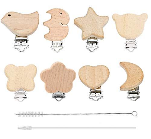 8 Stück Schnuller Clip Nuckelclip Baby Clip Metall Holz Schnullerclip Säugling Schnuller Verschlüsse Halter Schnullerketten Clips Nippel Halter für Baby und Kind
